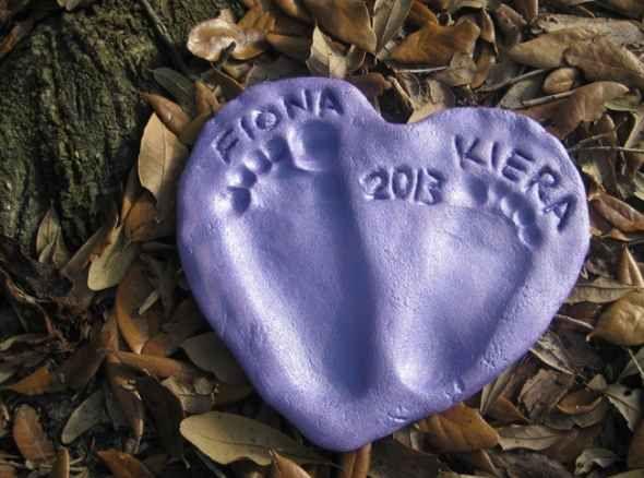 salt dough heart footprints gift toddler activity