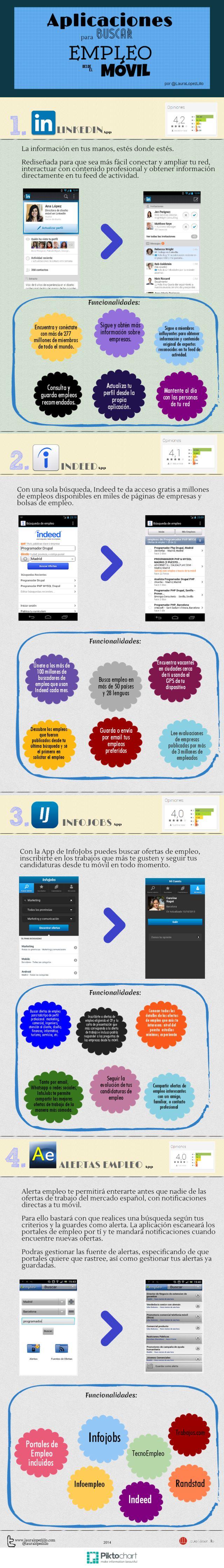Apicaciones para buscar empleo en el móvil  #infografia #infographic #empleo #trabajo