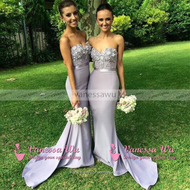 Sweetheart Bridesmaid Dress with 3-D Flowers, Sheath Bridesmaid Dresses with Lace Appliques, Discount Bridesmaid Dress, #01012786 · VanessaWu · Online Store Powered by Storenvy