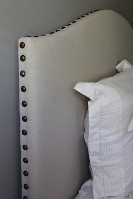 DIY Drop Cloth/Nailhead Trim Upholstered Headboard Tutorial
