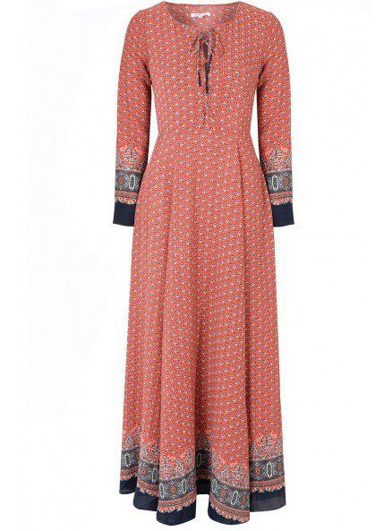 Glamorous UK Red Navy Border Print Maxi Dress