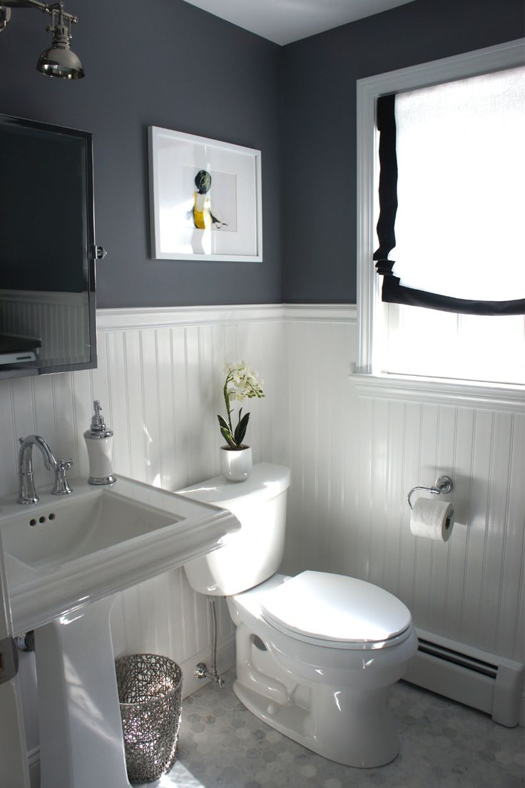 white v-groove @ bottom/ dark color @ top.......bathroom idea