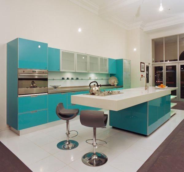 Cocinas con un color muy especial. Agua marina :)