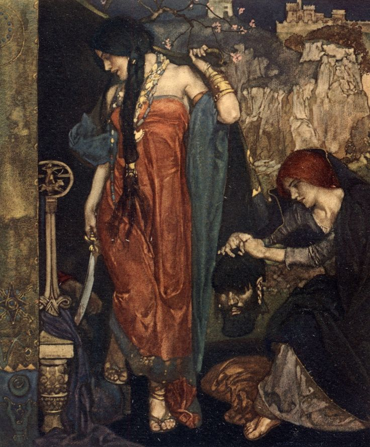 "William Russell Flint, ""Judith, by hir good conseil, delivered the citee of Bethulie, / in which she dwelled, out of the handes of Olofernus (Tale of Melibeus)"", from: ""The Canterbury Tales of Geoffrey Chaucer: Illustrated after Drawings by W. Russell Flint"", p. 201, illustration, 1913"