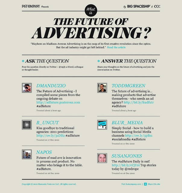 The Future of Advertising? // We built a conversation hub to accompany a Fast Company feature story, asking readers: what is the future of advertising? The platform acts as a companion to the article, providing readers with a tool to voice their opinions and pose the question directly to friends and industry members alike.