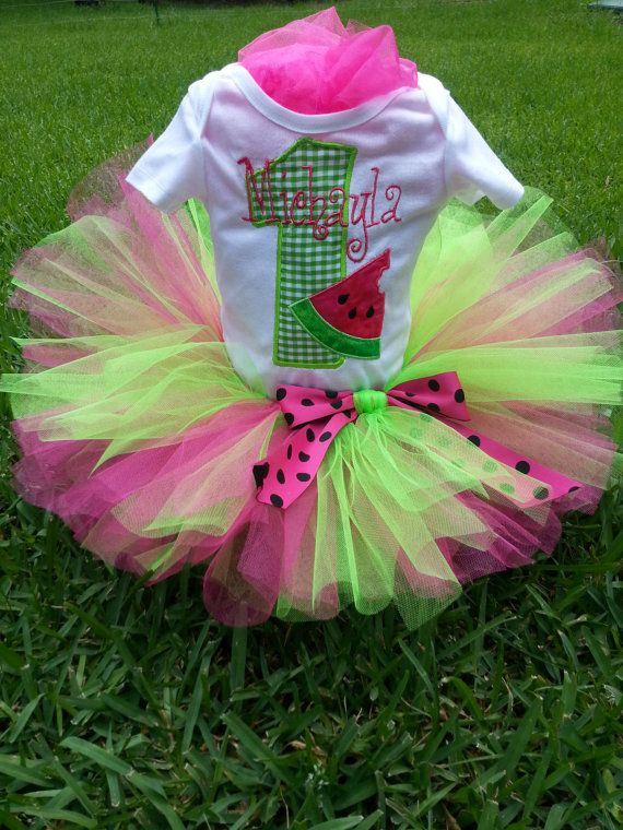 This super cute watermelon birthday tutu outfit comes with your choice of a onesie, regular shirt, or ruffle sleeve shirt, hot pink, and lime green tutu. The shirt WILL be monogrammed with your childs name, and have an adorable appliqued watermelon slice and number (1 - 9). It is