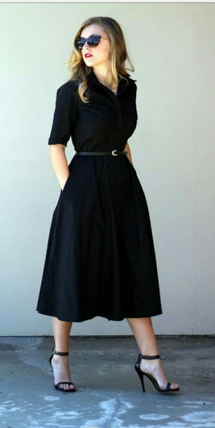 Black dress office chic look