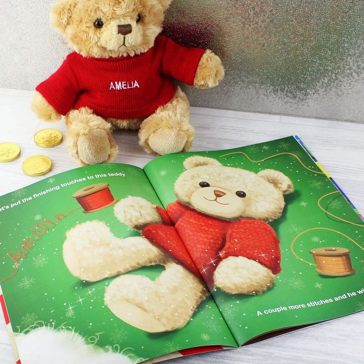 Personalised Christmas Story Book & Personalised Teddy Bear Gift Set. https://harringtons-gift-store.co.uk/collections/christmas-gifts/products/personalised-christmas-story-book-personalised-teddy-bear-gift-set