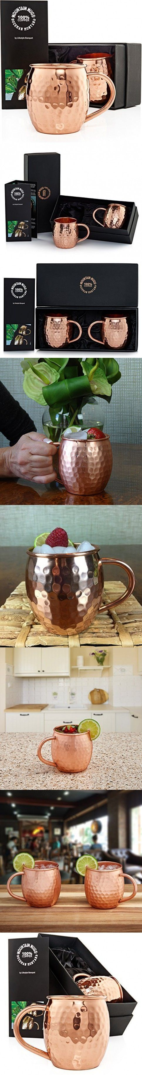 2 Hammered Moscow Mule Mugs in a Gorgeous Gift Box Make Great 7 Year Anniversary Gift Ideas. Each Mug holds 16 Ounces, is Made of Pure Solid Copper with No Nickel Lining and has Welded Handles