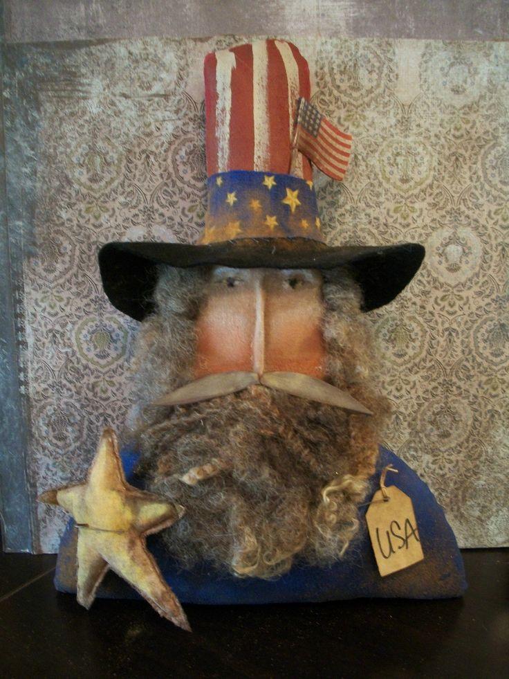 Primitive Uncle Sam Shelf Sitter Rusty Doll w Star 13 x 9 in Stitchedface | eBay