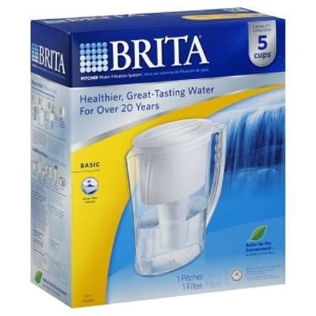 Brita Water Filtration System, Pitcher, Basic, 5 Cups, 1 system