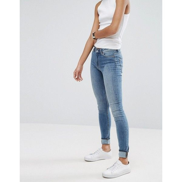 Weekday Body High Waist Superskinny Jeans (£30) ❤ liked on Polyvore featuring jeans, bottoms, blue, tall skinny jeans, high-waisted jeans, super high rise skinny jeans, high waisted jeans and tall jeans