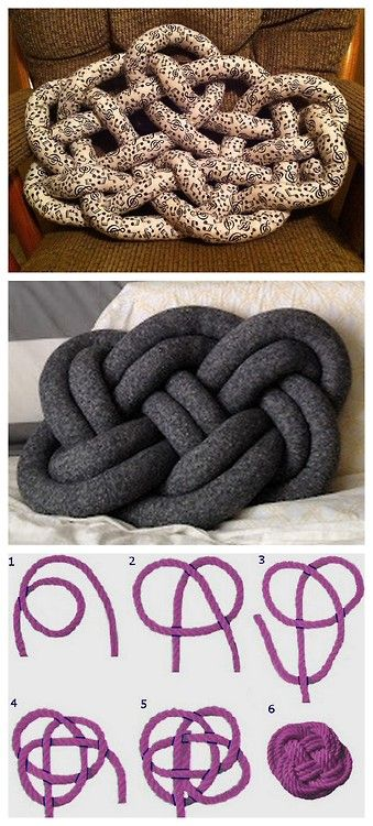 "DIY Celtic Knot Pillow Tutorial from Cut Out + Keep here. ""The Witness to Your Splendor"" celtic knot is used for this pillow. Mainly posting because the bottom pillow tutorial from Seymour here was taken down at the request of artist Ragnheiður Ösp who makes a pillow resembling the one in the middle. *So what happens when a DIY is removed that you really wanted to do? Improvise. Cut Out + Keep Tutorial + Sailor's Knot = Celtic Knot Pillow  Top Photo: DIY from Cut Out + Keep  Midd"