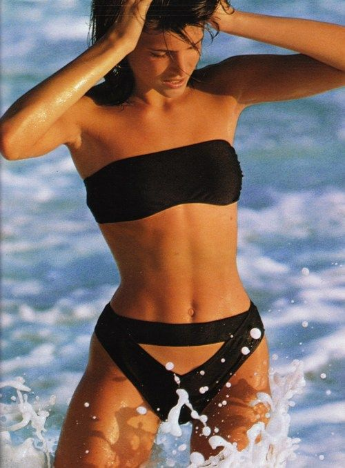 "Stephanie Seymour""Les Maillots Paradent"" Elle France, May 1986 Photographer : Hans Feurer ( Source : Imc Magazine )"
