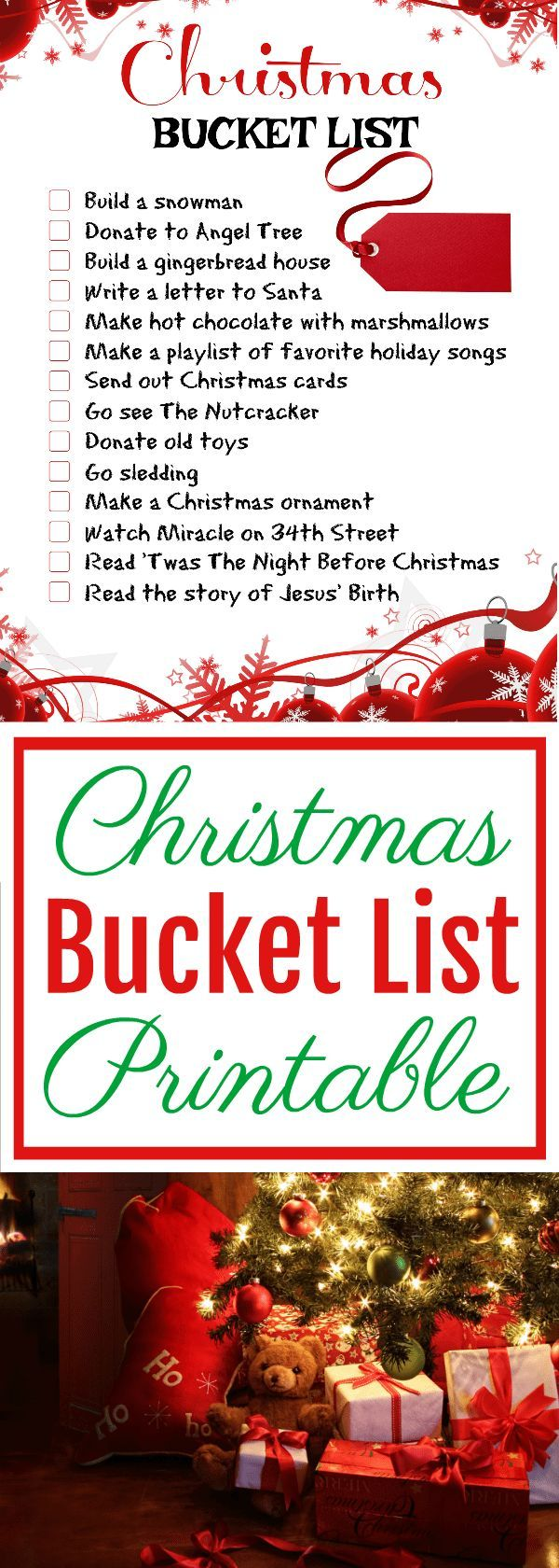 Take the time this busy Christmas season to enjoy all your favorite family holiday traditions and help stay on track with this free Christmas Bucket List printable!