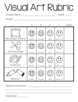 Visual art rubric for elementary level. I like the idea but wouldn't pay to download it but rather I'd make my own and adjust it to fit the needs of the students I am working with.