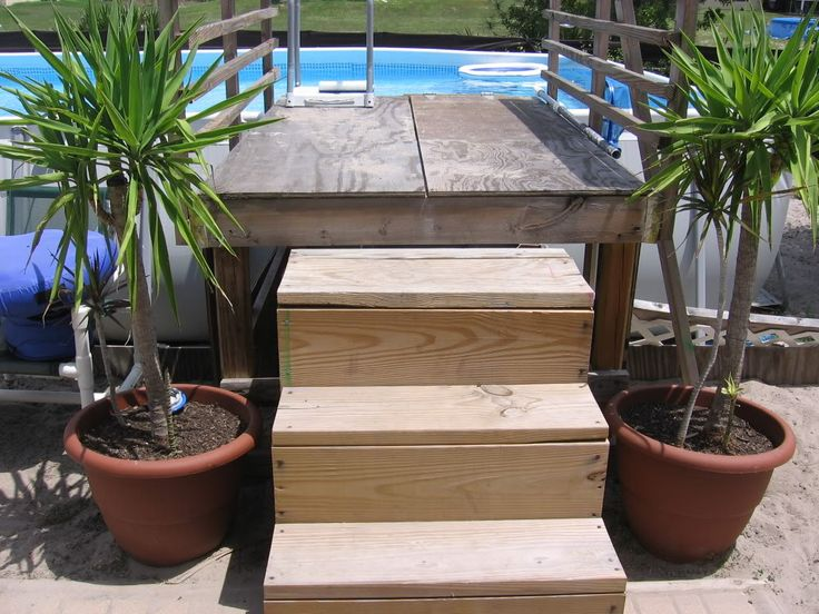 Building wooden steps for above ground pool woodworking for Above ground pool ladder ideas
