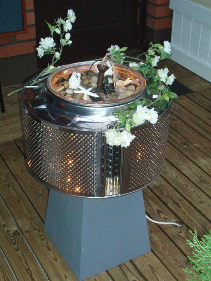 Diy ideas the drum of the washing machine I made a fountain with lights