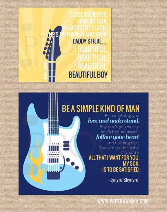 Beautiful Boy, Simple Man Rock and Roll Art set // Lynyrd Skynyrd, John Lennon // N-X44-2PS // Set of Two Prints: one 8x10 and one 11x14