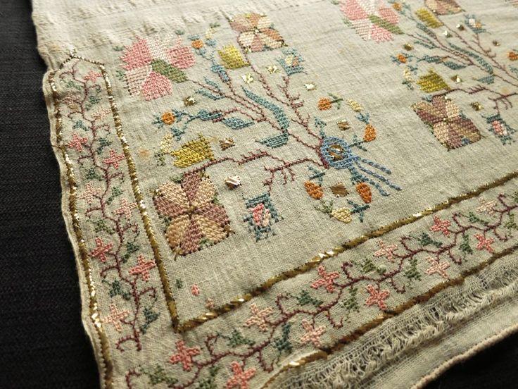 Antique OTTOMAN Turkish SILK EMBROIDERY TOWEL Yaglik METALLIC ACCENTS 19x50   Antiques, Linens & Textiles (Pre-1930), Embroidery   eBay!