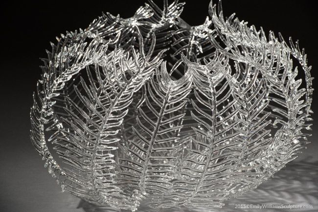 Glass Feather Star Sculpture, Details, Torched Boro Glass, 2015