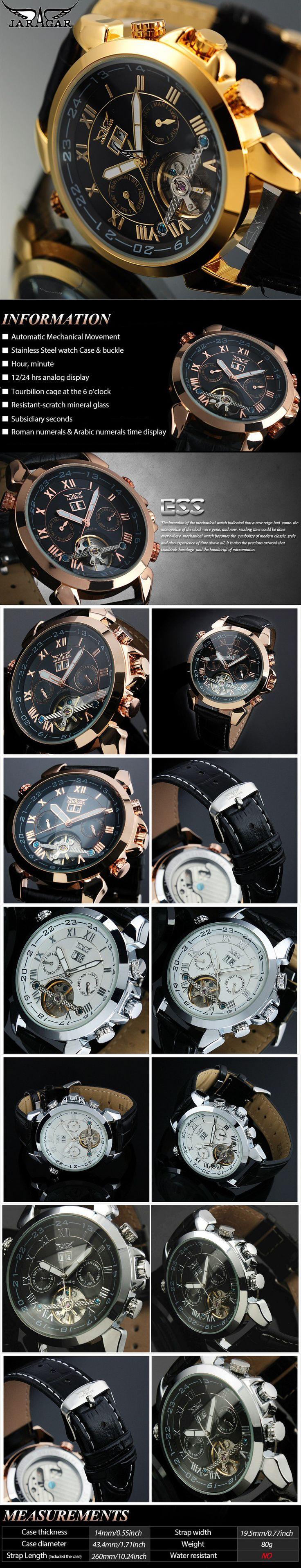JARAGAR F120504 Fashion Automatic Mechanical Watch Date Display Leather Strap Men Wrist Watch