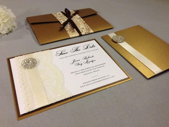 Antique gold and bronze wedding kit/set with lace and rhinestone embellishment. Kit includes Invitation, Save the Date & Thank You card. From CraftAKit  on Etsy
