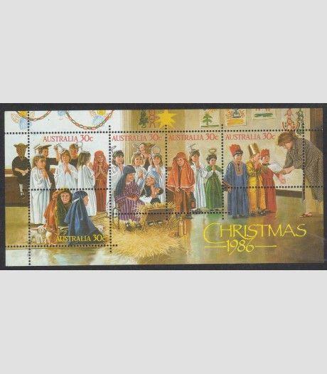 オーストラリア1986クリスマスミニチュアシート子供のキリスト降誕