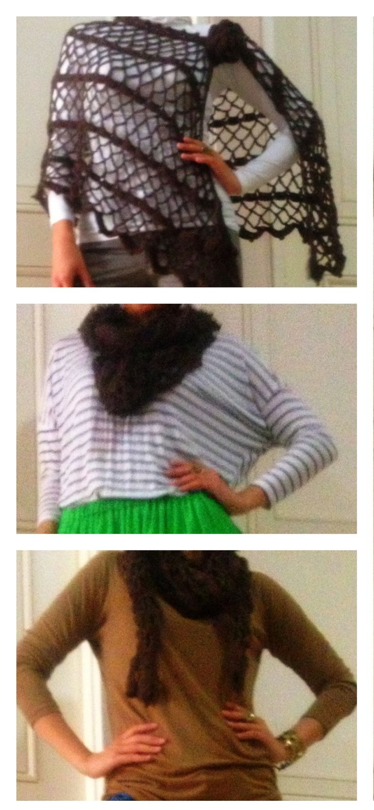 one crochet poncho made into three styles!