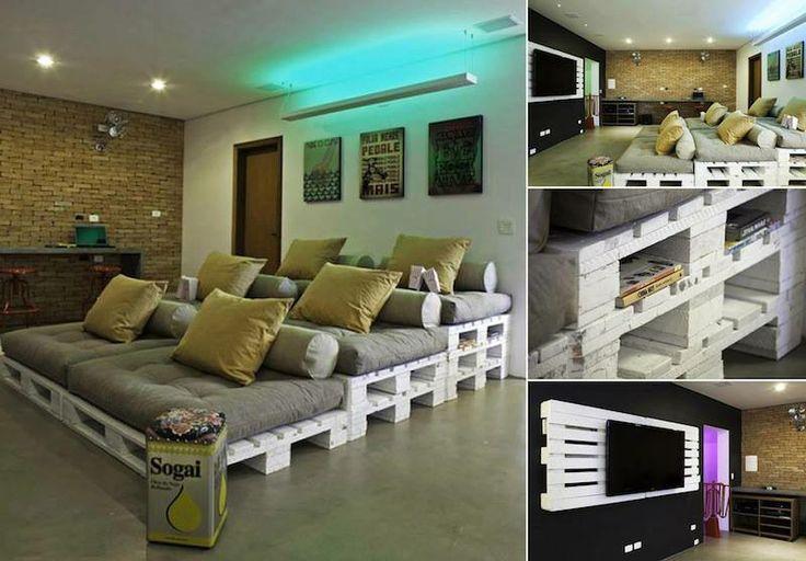 #EcoDesign Per una serata coi fiocchi guardate qui cosa si può realizzare con i vecchi bancali, un salotto stile cinema, ECOlogico ed ECOnomico!!!   SEGUICI SU: www.facebook.com/CreoEco