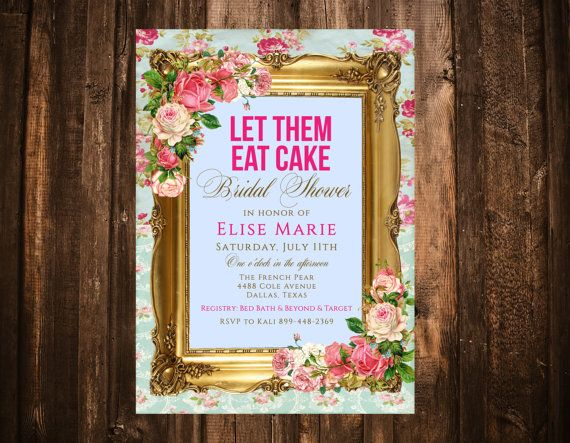 Marie Antoinette Bridal Shower Invitation Hot by papernpeonies
