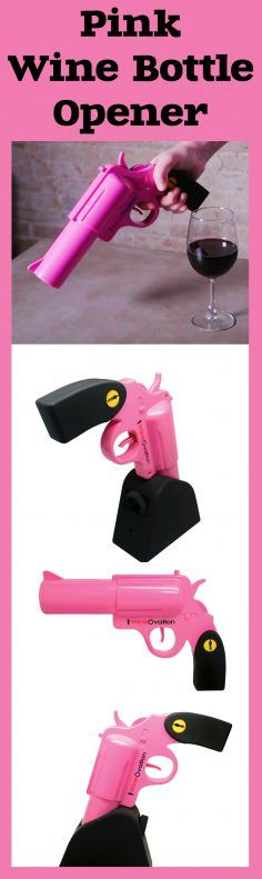 WineOvation Powered Wine Opener is an amazing gift for wine-lovers! This adorable pink gun opens a bottle of wine in a second! A great conversation starter! #pink #gun #wine