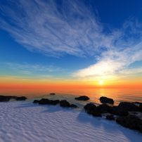 Paintings Of Ocean Rock Walls With Sunrise