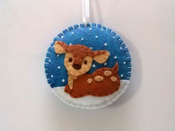 Christmas decoration, Baby deer ornament / Felt Christmas tree ornament / Fawn reindeer / Snowing ornament / Xmas ornaments, Holiday Decor