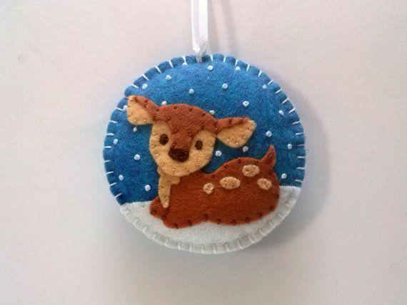 Christmas decoration, Baby deer ornament / Felt Christmas tree ornament / Fawn reindeer / Snowing ornament / Xmas ornaments, Holiday Decor