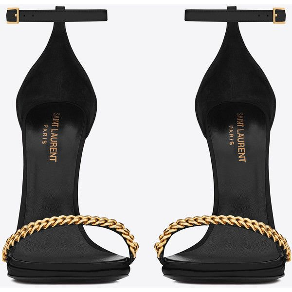 Saint Laurent Classic Jane Ankle Strap 110 Gourmette Chain Sandal In... (2.285 BRL) ❤ liked on Polyvore featuring shoes, sandals, heels, high heels, sapatos, ankle strap heel sandals, heeled sandals, black patent leather sandals, ankle strap high heel sandals and platform sandals