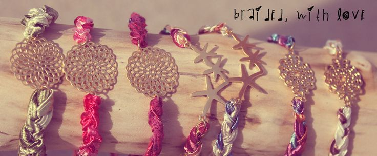 Braided, with love collection. Made from 14k gold plated charms and silky satin ribbons! Check out the entire collection at www.liefsjewellery.com
