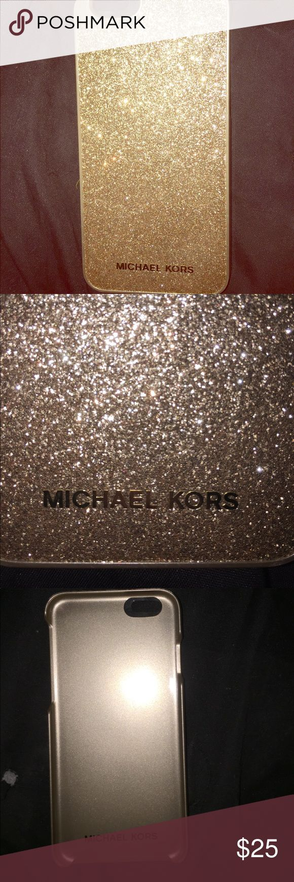 Michael Kors iPhone 6/6s Gold Cover This is absolutely gorgeous sparkling gold Michael Kors phone cover for your iPhone 6 or 6S. It has never been used it is new without the box I put it on my phone literally two hours before I went to the store to upgrade asking only $25 for it Michael Kors Accessories Phone Cases