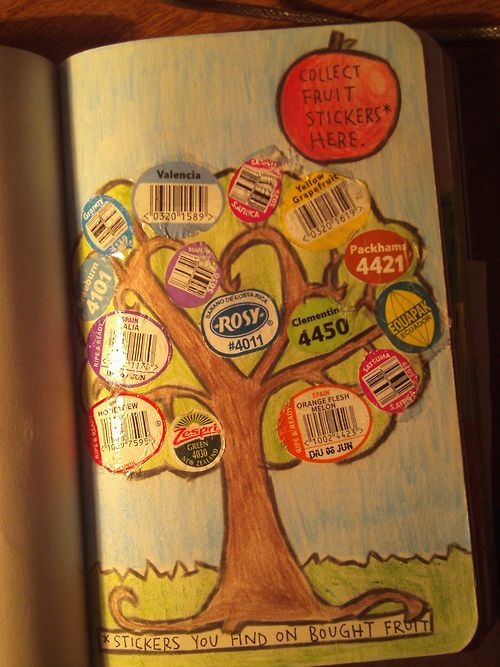 Wreck this journal ideas. Fruit stickers on a tree