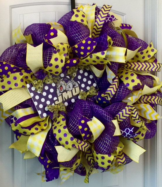 JMU Wreath, Deco Mesh Wreath, James Madison University Wreath, James Madison Dukes Wreath, Beading Heart Decor, JMU Dukes, Collegiate Wreath by beadingheartdecor on Etsy