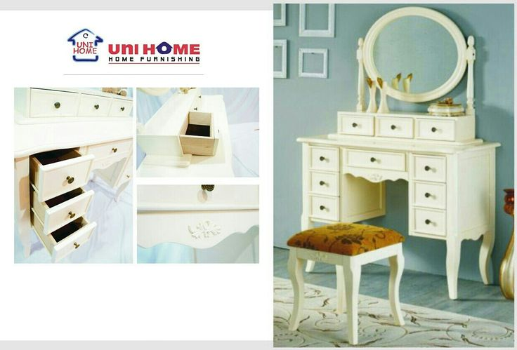 Choose which dressing table will help make you beautiful each day with this range of convertible dressing table. Inside compartments are lined with felt to protect jewelry and cosmetics. A practical choice for furniture picking using #multifunction pieces from #unihomefurniture ♥♥♥  DS 111 IV dressing table Width: 110 cm Depth: 45 cm Height: 184 cm