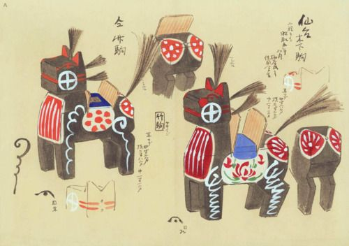 Ningyo-Do Bunko Database, late 19th - early 20th century watercolour sketch designs of japanese toys