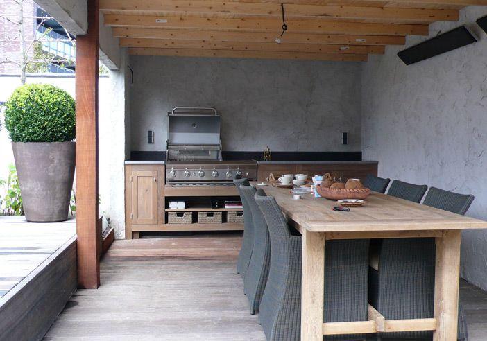 Buitenkeuken en betonnen muren