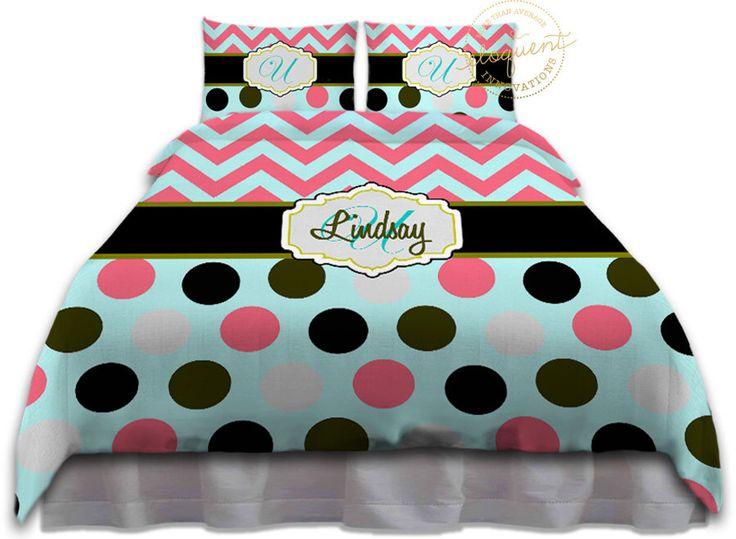 Mint - Coral Chevron Comforter, Unique bedding, Turquoise Kids Bedding, Elegant…