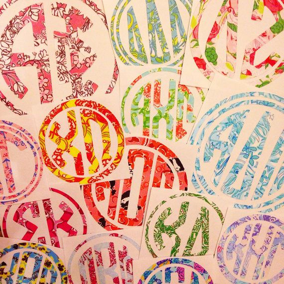Lilly Pulitzer Inspired Sorority Decal by MagicalMonograms on Etsy, $6.00