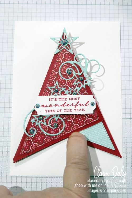 Free Stampin Up Pdf Tutorial For 3d Teepee Fun Fold Christmas Card Christmas Card Tutorials Christmas Card Making Supplies Card Making Supplies