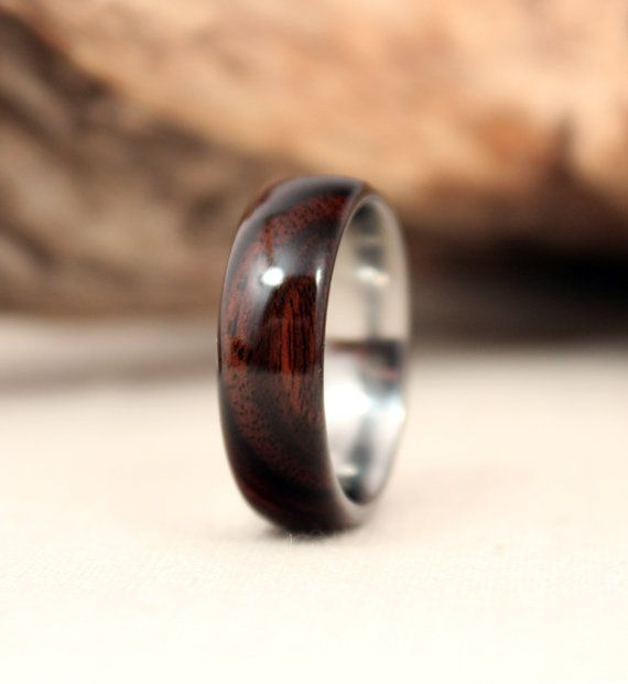 Macassar Ebony Lined with Titanium Wood Ring by WedgewoodRings, $135.00
