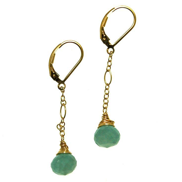 Aquamarine on Gold Fill Chain Earrings (E2052R) $70