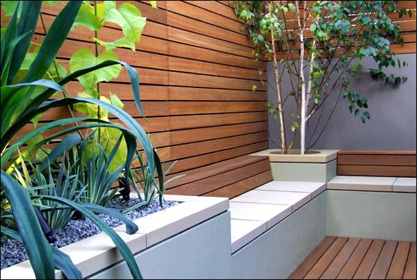 Raised beds and built-in bench