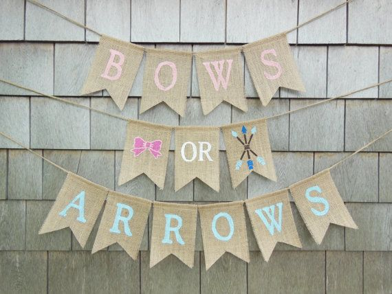 Bows or Arrows Gender Reveal, Bows or Arrows Banner, Gender Reveal Party Decor…